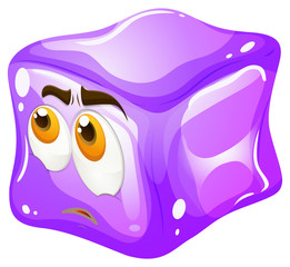 Purple cube with sad face