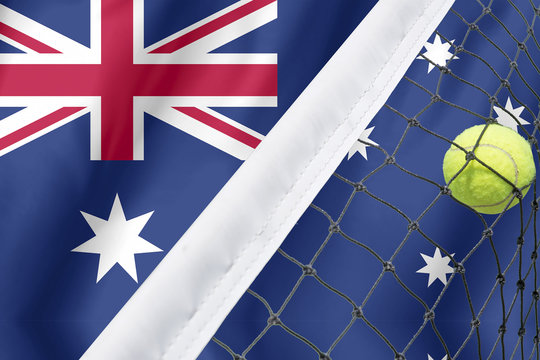 Australian open tennis concept with flag and ball