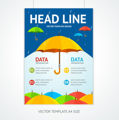 Placard Poster Template with Umbrellas. Vector