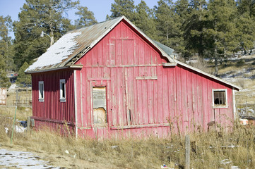 Red barn on Mescalero Apache Indian Reservation near Ruidoso and Alto, New Mexico