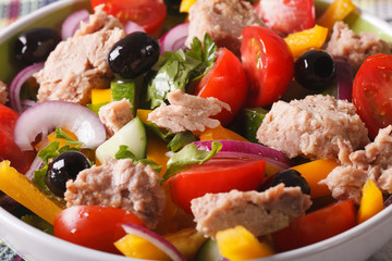 salad with fresh vegetables and tuna in a bowl macro. horizontal