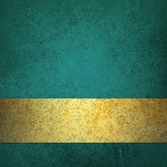 blue teal background with gold ribbon stripe or bar along bottom border with blank copyspace design