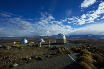 Mount John University Observatory is New Zealand's astronomical research observatory. Looking towards the north, is a view of lake Tekapo, lake Alexandriana and Aoraki Mount Cook.