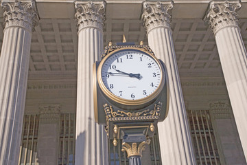 Clock in front of 30th Street Train Station, Philadelphia, PA., USA