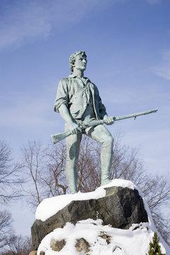 Revolutionary War, Lexington Minuteman Statue, Lexington, Ma., New England, USA,