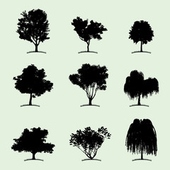 Deciduous tree silhouettes. EPS10 vector.