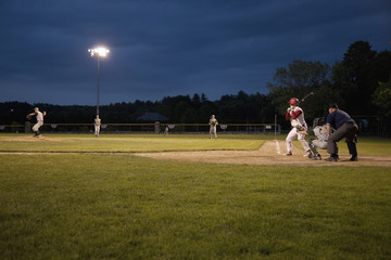 High school baseball features Nashoba Chieftans playing a nightgame in Western MA outside of Boston