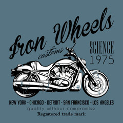 Iron wheels t-shirt design. EPS10 vector