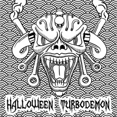 Halloween hand drawn turbodemon with seamless pattern on background. EPS10 vector