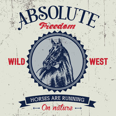 Absolute freedom logo label with hand drawn dotted style horse at the center.