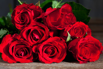 Sieben rote Rosen (Rosa), dunkler Holzuntergrund, closeup