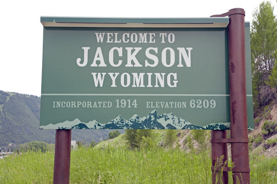 Welcome to Jackson Wyoming road sign