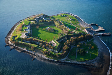 AERIAL VIEW of Fort Warren, a historic Civil War fort used as a prison, Boston Harbor, MA.