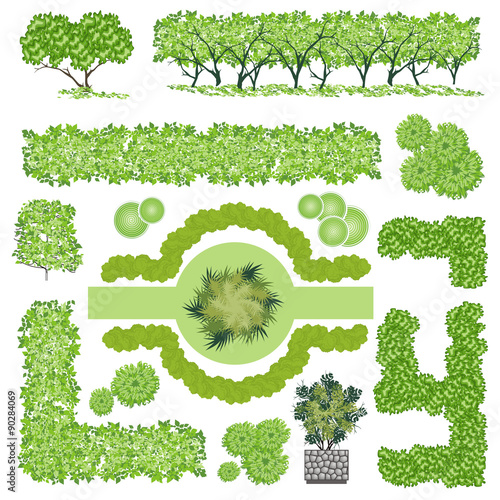 Trees and bush item top view for landscape design vector for Landscape design icons