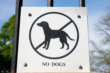 "Sign saying ""NO DOGS"""" in North End, Boston, MA."