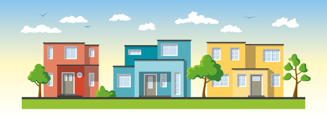 Wall Mural - Three modern colorful houses