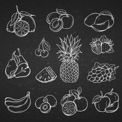 Vector set of different hand drawn decorative fruit .