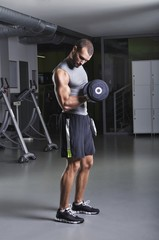Handsome Muscular Male Model in a Standing Position With Dumbbel