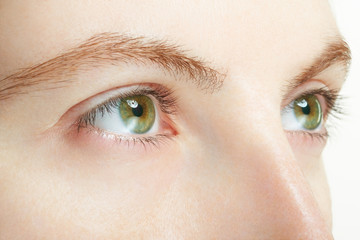 Woman green eyes macro, vision concept