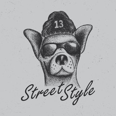 Chihuahua street style with glasses and hat, dotwork illustration. EPS10 vector