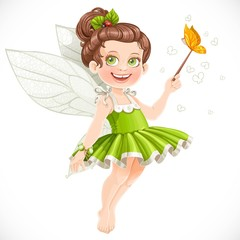 Cute little summer fairy girl with a Magic wand isolated on a wh