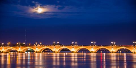Wall Mural - Pont de Pierre by night in Bordeaux, France