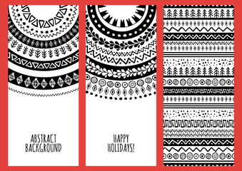 Set of vector trendy banners with hand drawn doodle ornament background.