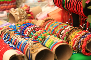 Multi-colored ethnic bracelets. Esoteric jewelery. Indian