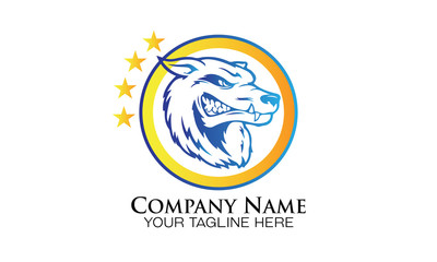 head wolf line art sport logo