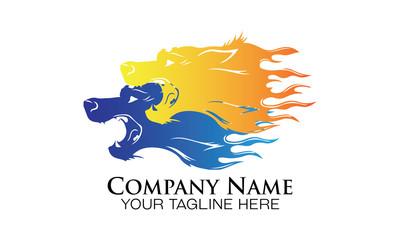 twin wolf logo vector