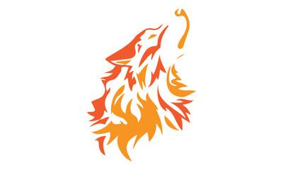 wolf head line art logo sport