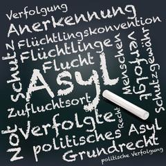 Tafel und Kreide mit Asyl