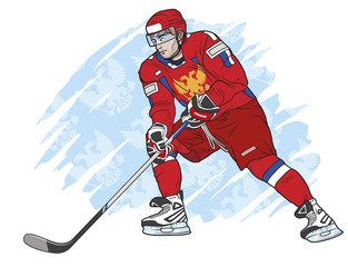 ice hockey player red