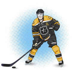 ice hockey player black and yellow