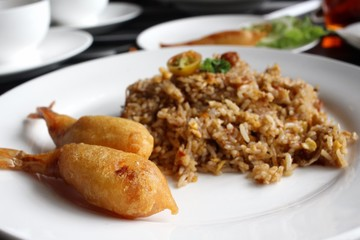 Fried shrimp and rice