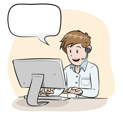 Male Operator With Text, a hand drawn vector illustration of a male operator handling customers via phone call, isolated on a simple background (editable).