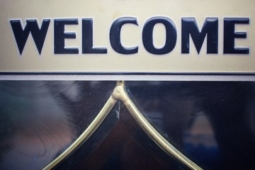 Welcome signboard in vintage