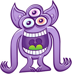 Three-eyed purple alien laughing loudly