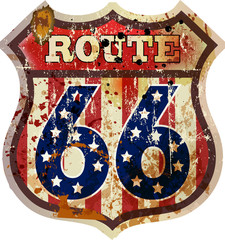 route 66 road sign, fictional design, retro style, vector