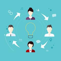 Modern Business Concept, The idea of teamwork and success.  Flat
