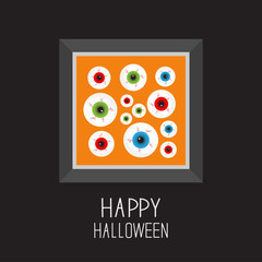 Picture frame Eyeballs with bloody streaks. Happy Halloween card. Balck background Flat design.