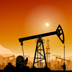 Silhouette  Pumpjack or Oil Pump on a Background of Mountains  at Sunset, Petroleum Industry , in the Background Working Oil Pumps and Drilling Rig, Vector Illustration