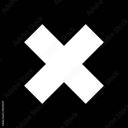 Delete Sign White Crosswise Sign On A Black Background X Sign A
