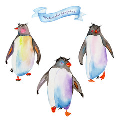 Set with a samples of penguins painted in watercolor on a white background