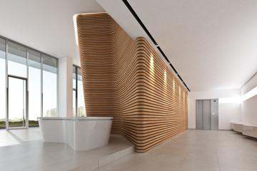 Foyer mit Wandskulptur Holz