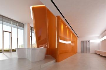 Foyer mit Wandskulptur orange