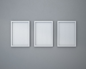 3 Blank frame on  gray wall.