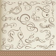 Calligraphic Curls, Vignettes, Corners with Vintage Border