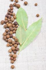 Fototapeta Grains of allspice and bay leaf on a canvas obraz