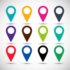 set icons pointers for map in the style flat design different color on a gray background. stock vector illustration eps10